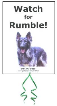 Please Post Rumble's Sign & Tie a Green Ribbon for Rumble.  Thank you!